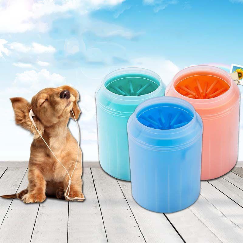 Nettoyeur de patte de chien Silicone souple Pet pied rondelle tasse poils doux Pet propre brosse rapidement nettoyer pattes chien pied lavage outil XS S M