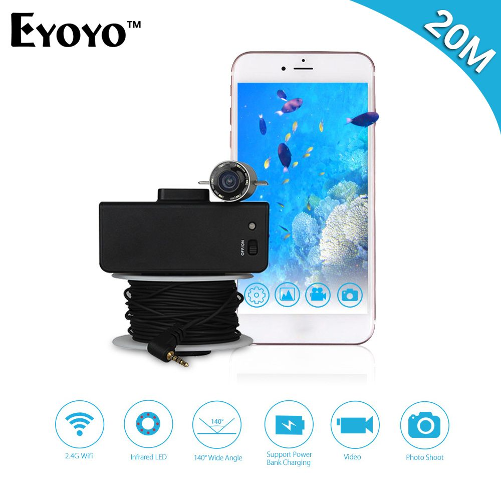 Eyoyo Portable WIFI Wireless Fish Finder Underwater Camera for Fishing 20M Cable Infrared IR LED Night Vision For IOS&Android