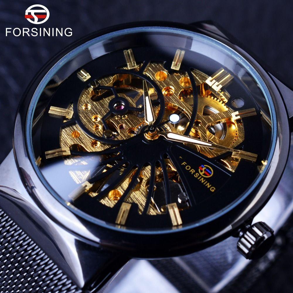 Forsining Moda de Lujo Caso Delgado Diseño Unisex Impermeable Para Hombre Relojes de Primeras Marcas de Lujo Esqueleto Mecánico Relojes de Marcación Samll
