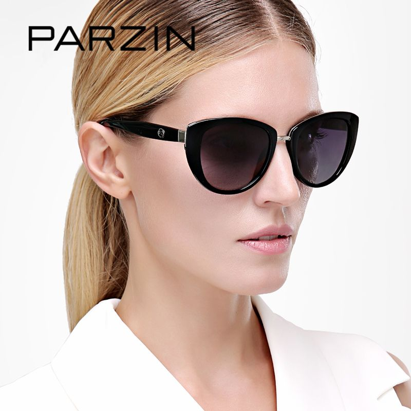 PARZIN Brand Elegant Cat Eye Sunglasses For Women Big Frame Real Polarized Anti-UV400 Sun Glasses High Quality Eye Glasses 9507