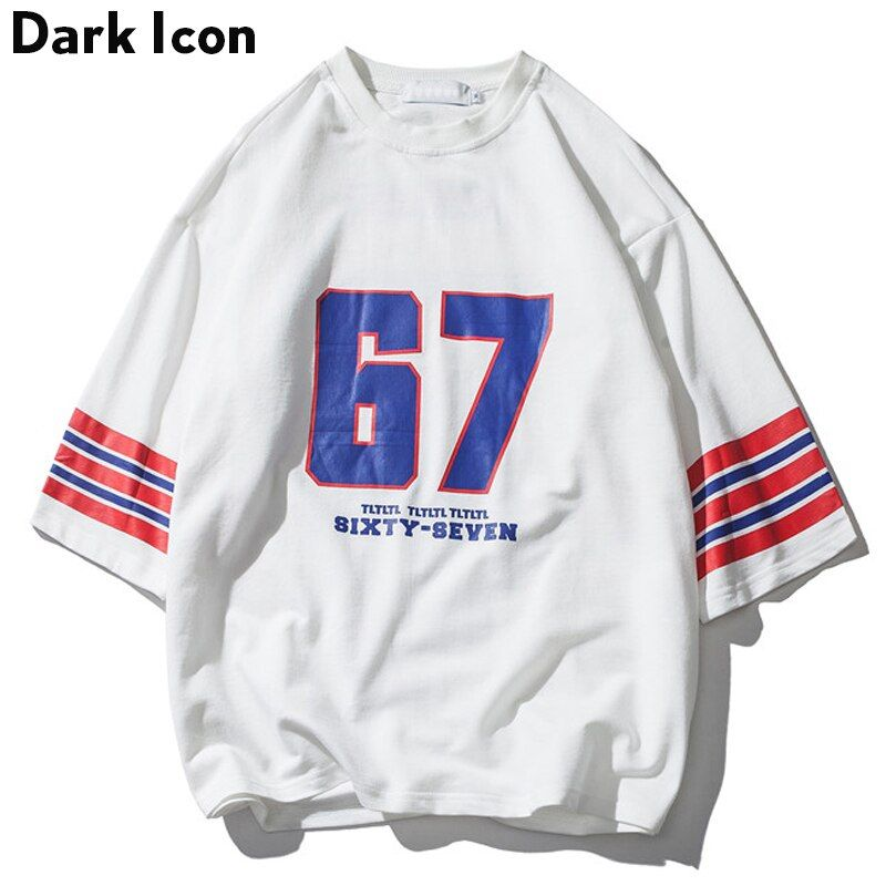 Number 67 Stripe on Sleeve Oversized T Shirt Men 2018 Summer Round Neck Loose Style Men's T-shirt Cotton Tee Shirts