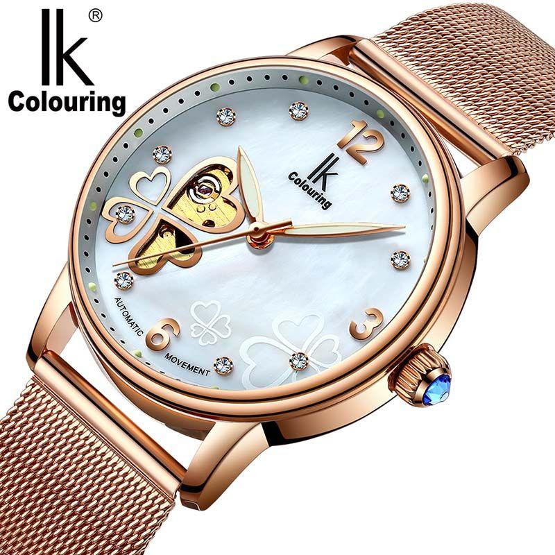 Ladies Mechanical Skeleton Women Watches IK Colouring Diamond Clover Fashion Watch Dress Women Clock Reloj femenino