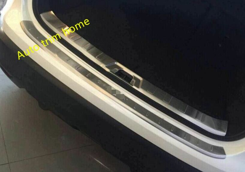 For Nissan Qashqai J11 2014 2015 2016 Stainless Steel Rear Outer + Inner Bumper Protector Door Sill Plate Molding Garnish 2 pcs