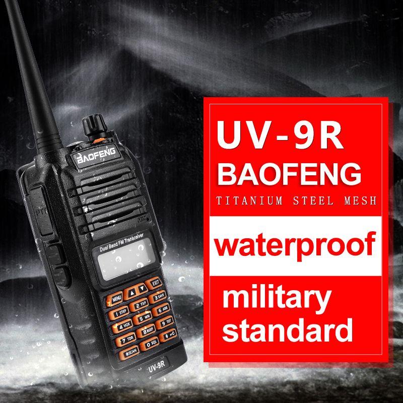 2018 New Baofeng UV-9R Handheld Walkie Talkie 8W UHF VHF UV Dual Band IP67 Waterproof UV 9R Two Way Radio Interphone Transceiver