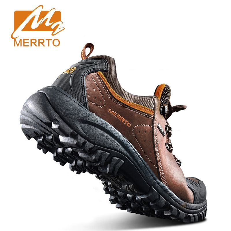 Merrto Waterproof Hiking Shoes Men Outdoor Sports Shoes Genuine Leather Sneakers Breathable Walking Mountain Trekking Shoes Men