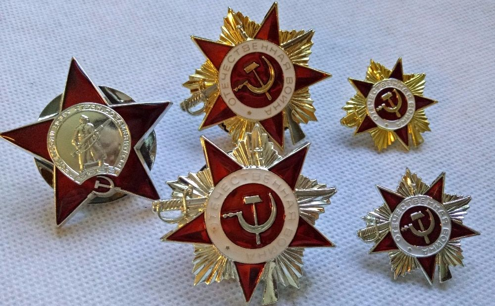 5 PCS SET of Soviet WW2 Orders (Medals) Pin Badge COPY USSR RUSSIA UNION Moscow Kiev US