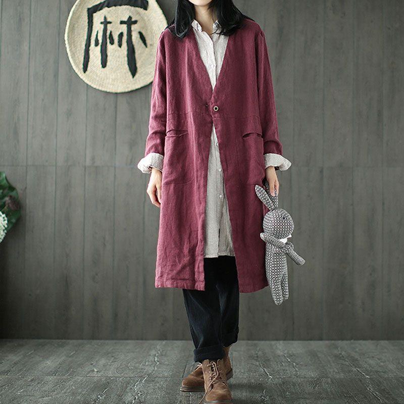 M-5xl 2018 celmia mujeres V Masajeadores de cuello manga larga vintage algodón Lino sólido abrigo largo primavera suelta señoras bolsillos chaqueta cardigan