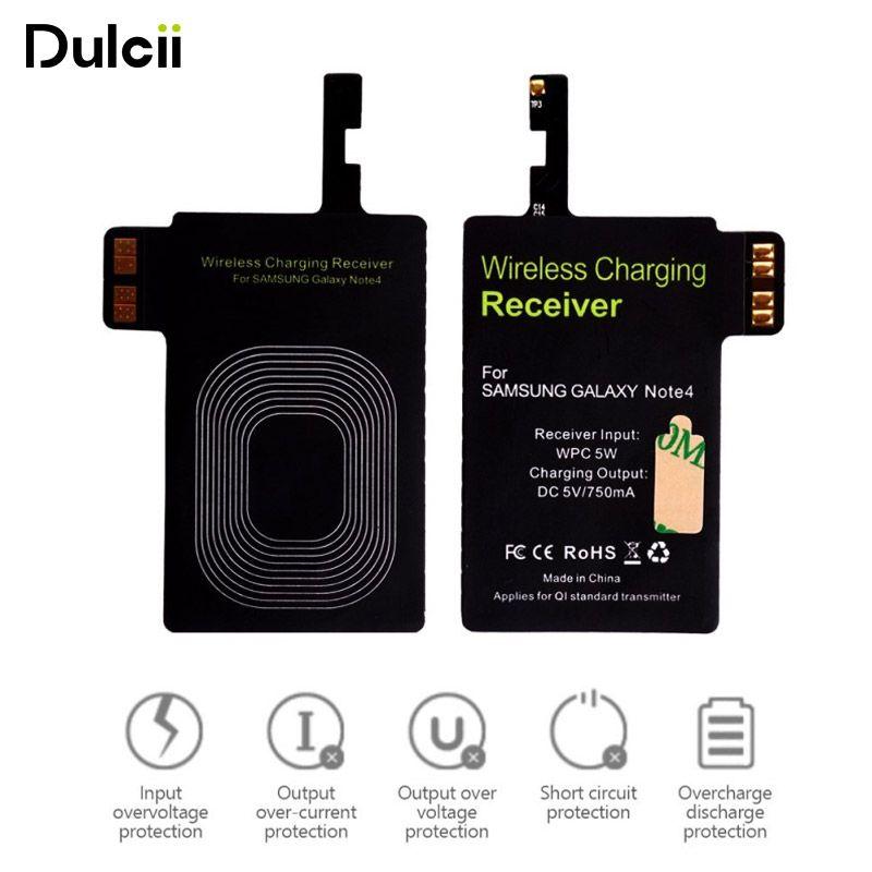 DULCII Pour Samsung Note 4 N910 Qi Sans Fil De Charge Récepteur Sans fil Charge Chargeur Tag pour Galaxy Note4 TI Puce CE FCC RoHS