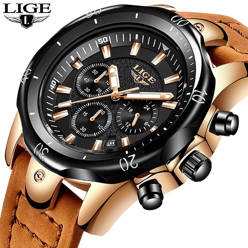 relojes hombre 2018 LIGE Mens Watches Top Brand Luxury Quartz Watch Men Casual Leather Military Luminous Waterproof Sport Watch