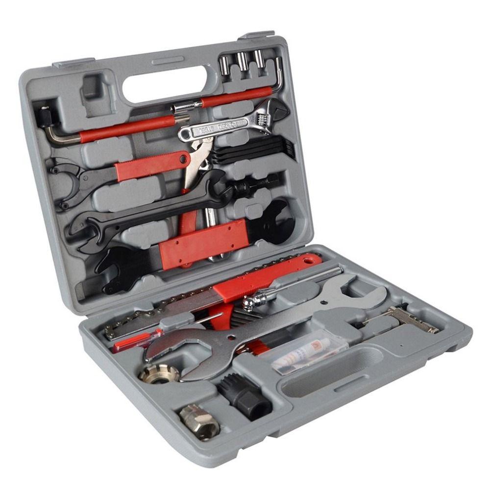 44pcs 1 Set Bike Cycling Bicycle Maintenance Repair Hand Wrench Tool Kit Box Case Fix Equipment Drop Shipping RU Warehouse