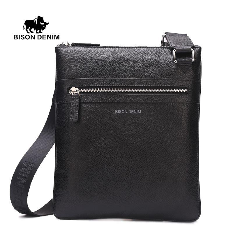 BISON DENIM Brand Cow Skin Genuine Leather Crossbody Bag Slim Male Shoulder Bag Business Travel iPad Bag Men Messenger Bags 2424