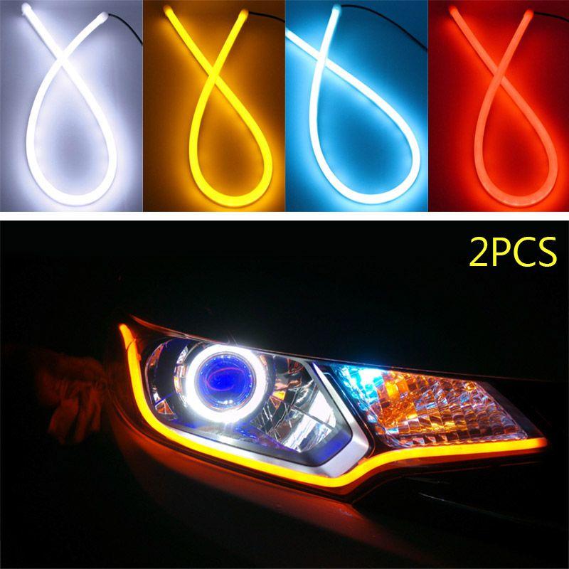 2pcs 30cm Flexible Soft Tube Guide Car LED Strip Turn Signal Running Light Car Styling CSL2017