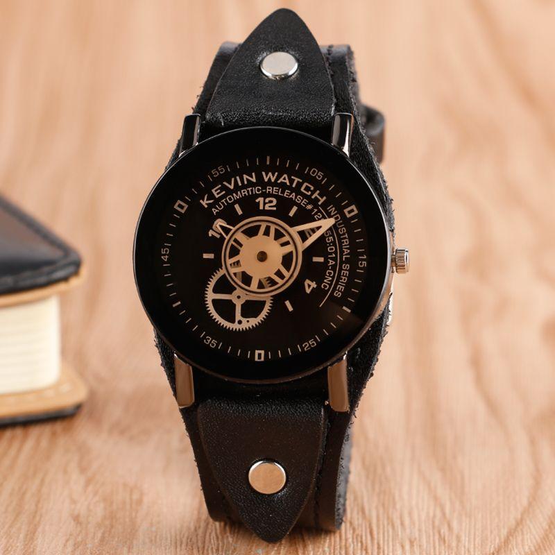 2017 Men Women Wrist Watches Fashion Steampunk Creative Quartz Watch KEVIN Unique Wristwatches Black Leather Clock