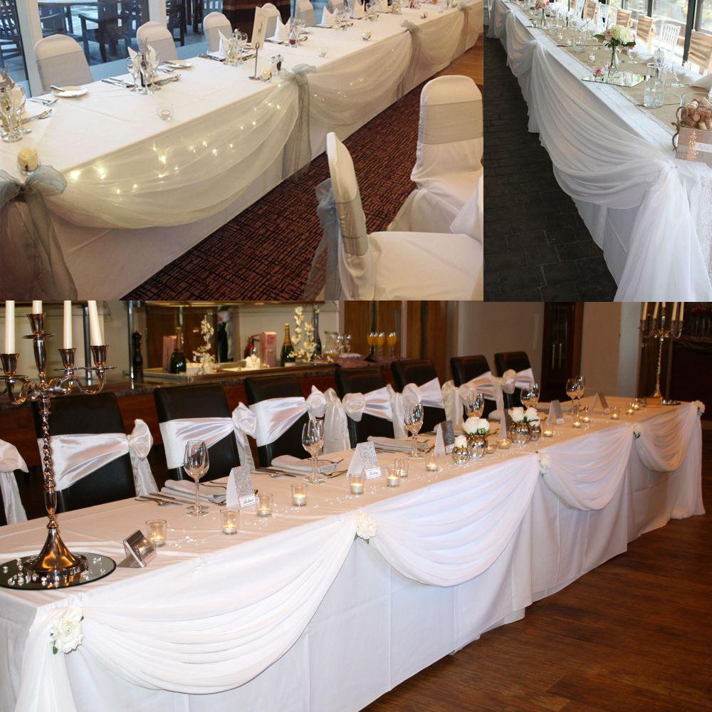 BIT. FLY blanc 10 M * 1.35 M pure Organza Swag tissu pour fleur/mariage décorations événement fournitures textiles de maison par livraison gratuite