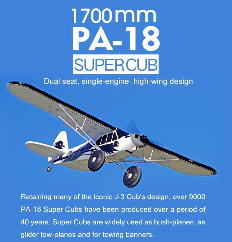 FMS RC Airplane 1700MM 1.7M PA-18 J3 Piper Super Cub 4S 5CH (Floats optional) PNP Trainer Beginner Model Plane Aircraft PA18 J-3