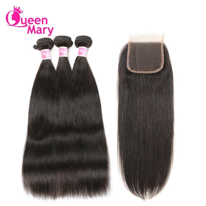 Brazilian Straight Hair Human Hair Bundles With Closure Brazilian Hair Weave 3 Bundles With Closure Queen Mary Non-Remy Hair