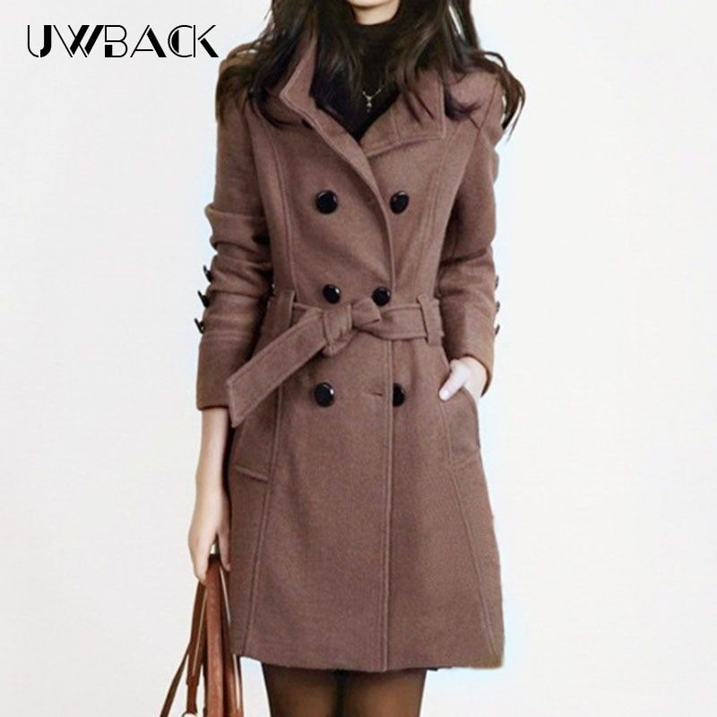 Uwback 2018 New Spring Woolen Coat Trench Women Slim Double Breasted Black Winter Coats Long Outerwear for Women QB323