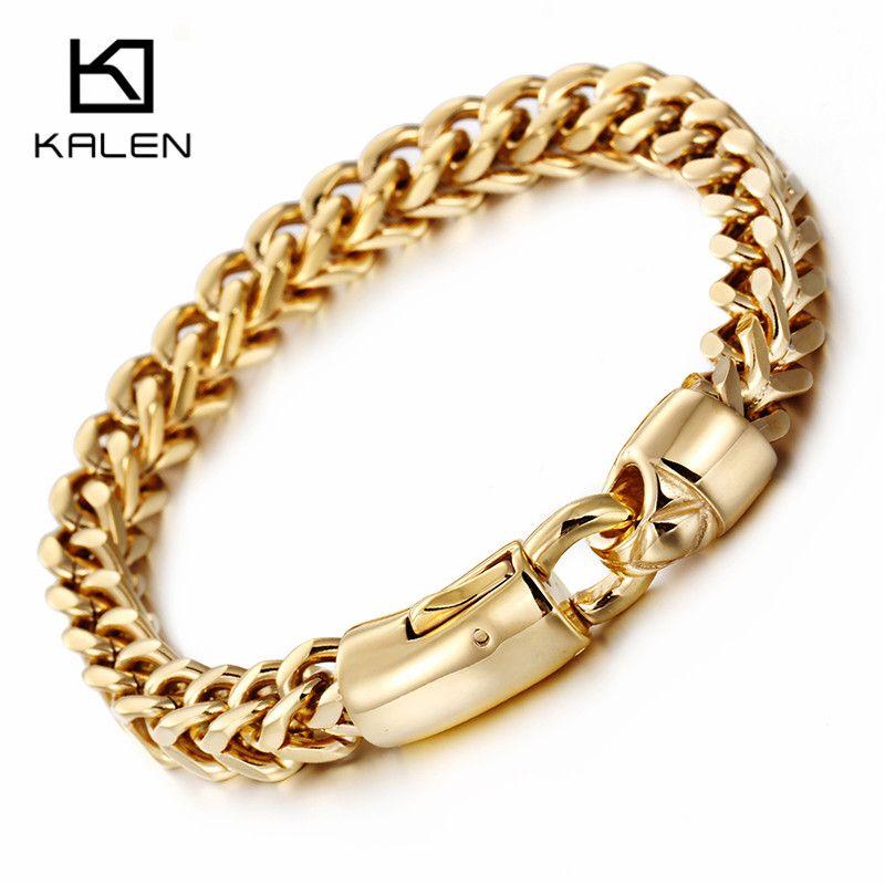 Kalen Dubai or couleur lien chaîne Bracelet pour hommes en acier inoxydable bijoux haute poli main chaîne accessoires cadeaux d'anniversaire