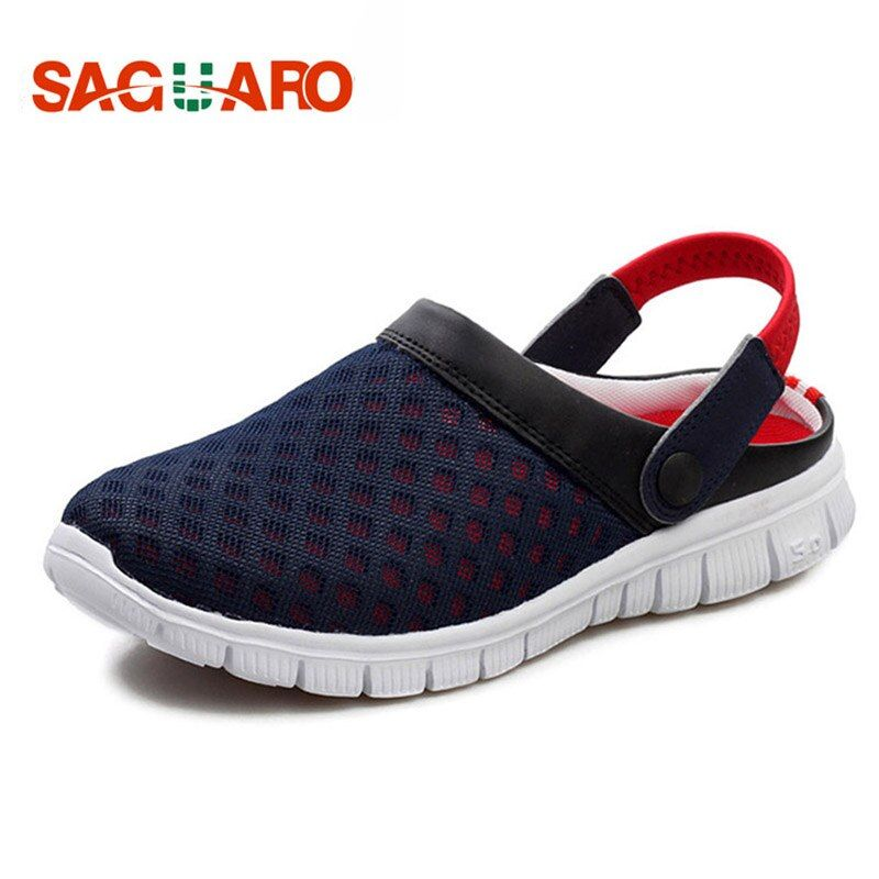 SAGUARO Summer Men Slippers Shoes 2018 Fashion Mesh Slippers Unisex Beach Sandals Casual Flat Slip On Flip Flops zapatos <font><b>hombre</b></font>