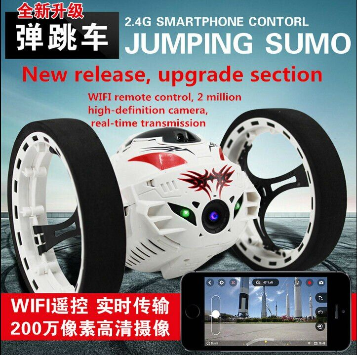 2016 Newest Boy Fashion Gift upgrade version Bounce RC Stunt Car 4CH 2.4GHz Jumping Sumo Remote Control with 2.MP HD wifi camera