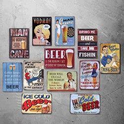 MAN CAVE TIDAK BEKERJA SELAMA MINUM JAM Vintage Tin Sign Bar pub rumah Wall Decor Art Poster Retro Logam