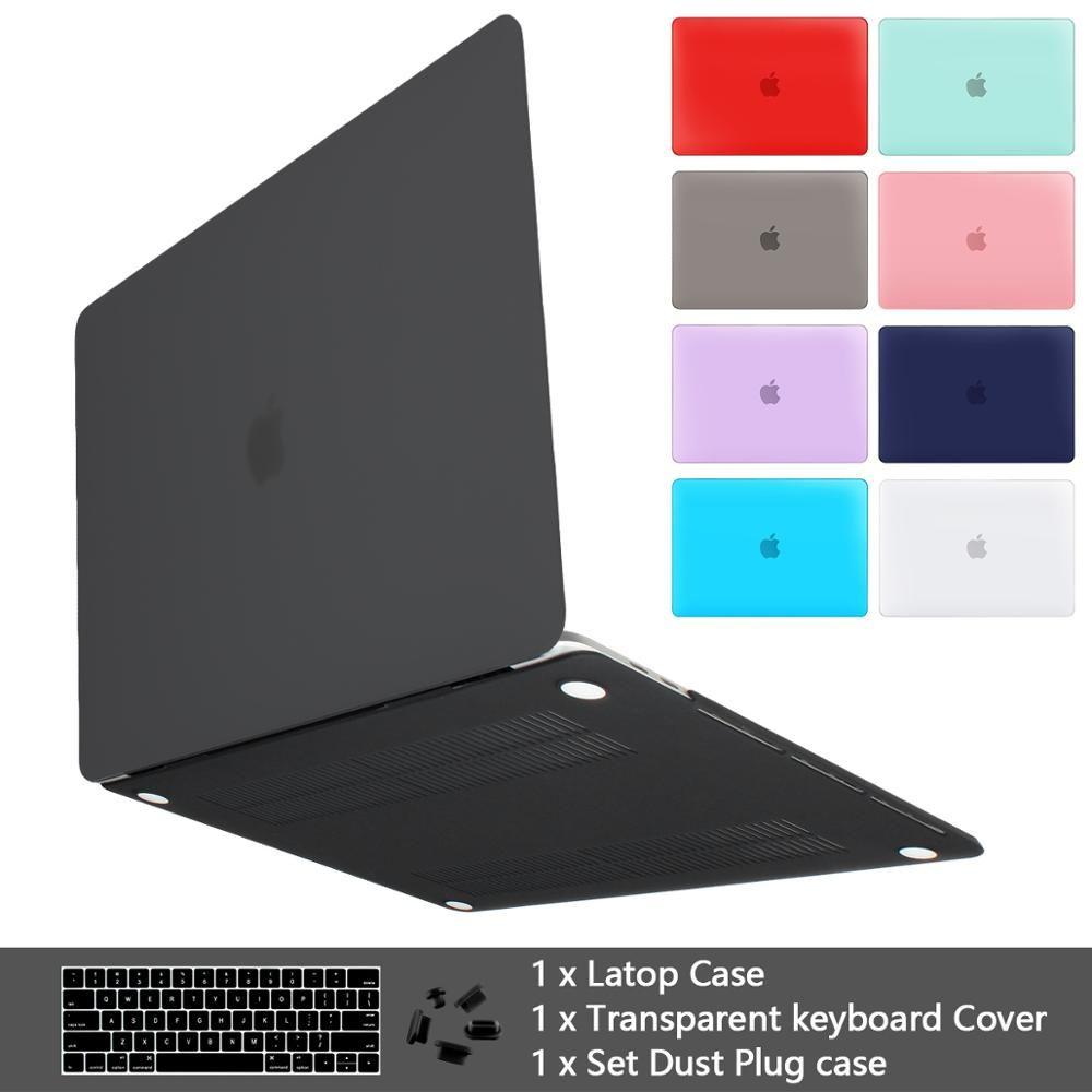 Mat de qualité supérieure étui pour Macbook Air 11 12 pouces pochette pour ordinateur portable pour Macbook Pro 13 15 Touch Bar 2019 Touch ID 2018 + Couverture de clavier