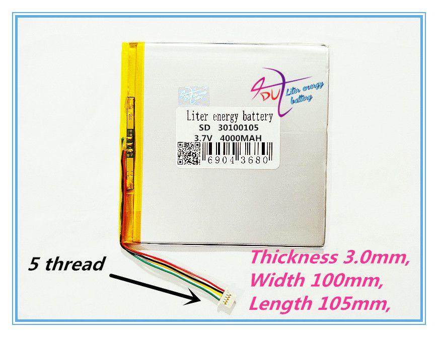 5 thread best battery brand 3.7V lithium polymer battery 30100105 3.7V 4000MAH mobile power DIY tablet computer