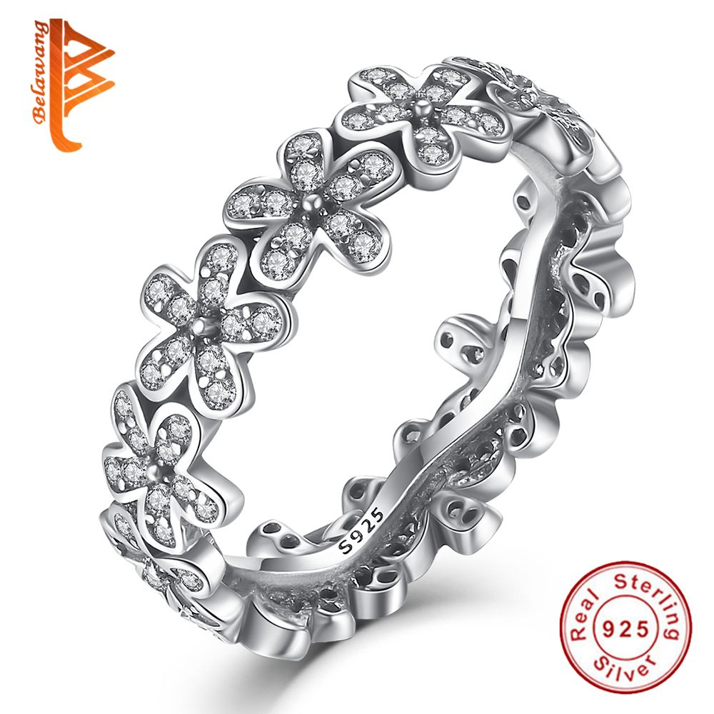 Genuine 925 Sterling Silver Daisy Meadow Stackable Bouquet Rings With Cubic Zircon For Women Ring Famous Brand Original Jewelry