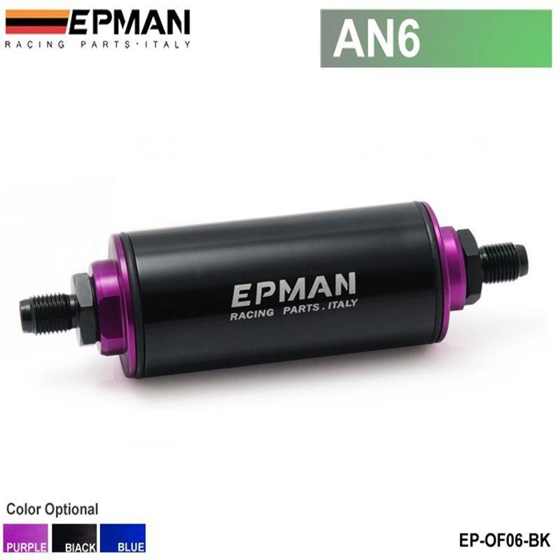 Filtre à carburant en aluminium en ligne prêt à emballer noir AN6 avec élément en acier SS EP-OF06 100 microns