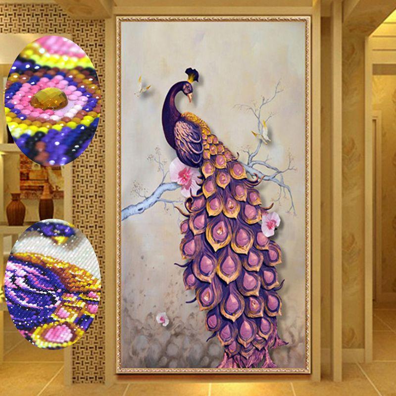 5D Роскошные Алмаз Вышивка Картины горный хрусталь вставить DIY Алмазная мозаика картина вышивки крестом животных Павлин Room Decor