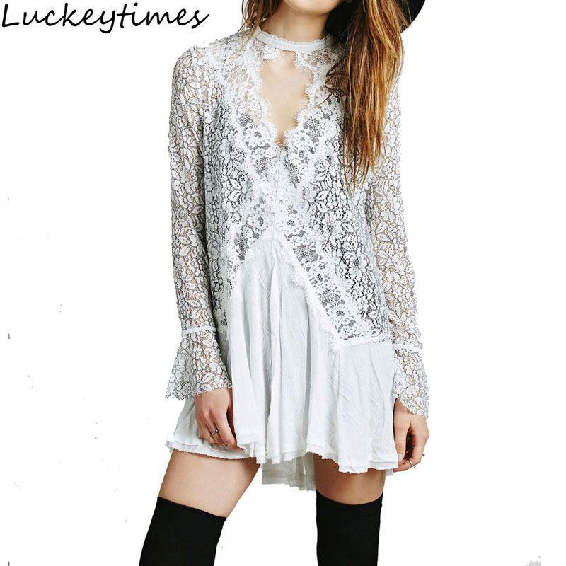 Vestidos Women 2017 O Neck Mini Short White Dresses Lace Irregular Dress People Slim Hook Sexy Boho Hippie Style Female Jupe