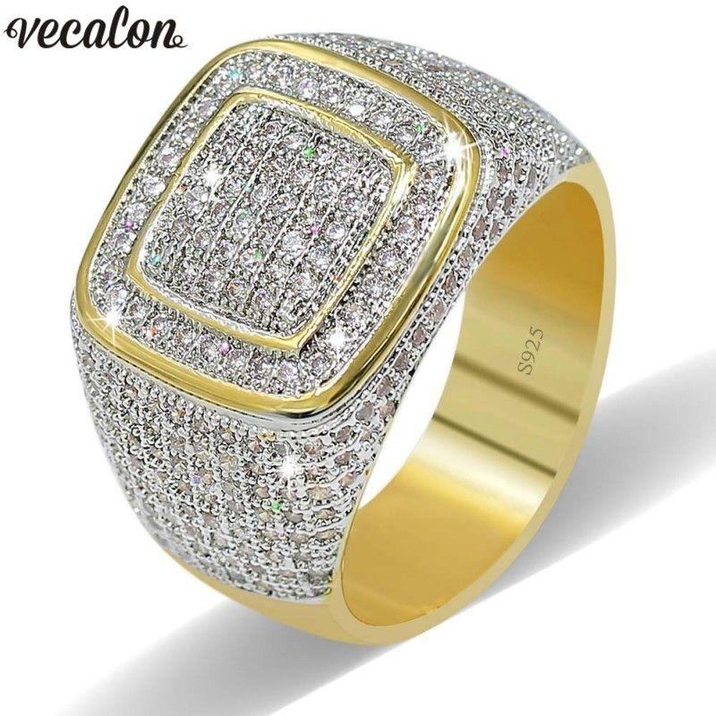 Vecalon Luxus Großen Hiphop Rock ringe für männer Pflastern einstellung 274 stücke AAAAA cz Stein Gelbes Gold Füllte 925 silber männliche ring