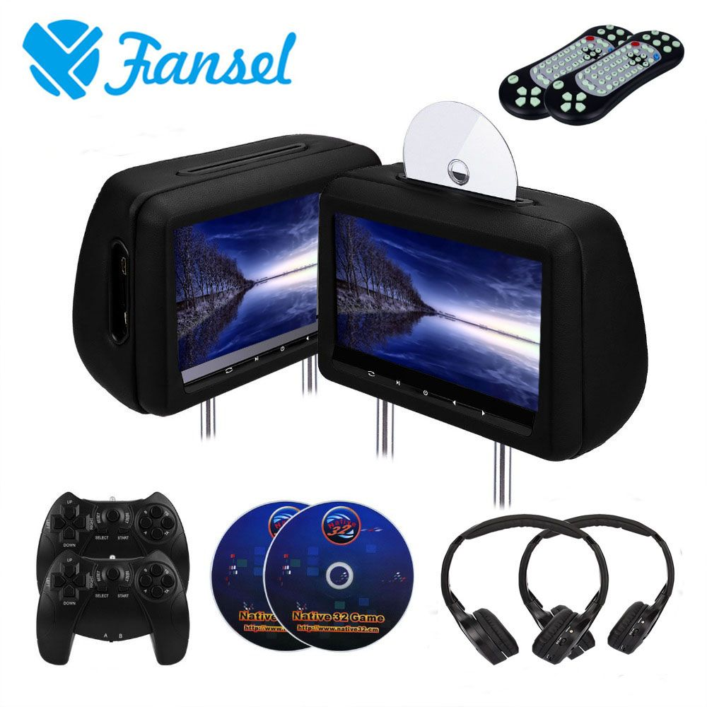 Fansel 2PCS 10.1 inch Car Headrest Monitor DVD Video Player With FM/IR Transmitter/USB/SD/HDMI Port/Speaker/Game/Gamepad/control