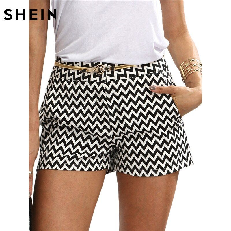 SHEIN Woman Shorts Summer New <font><b>Arrival</b></font> Black and White Mid Waist Button Fly Casual Pocket Cotton Straight Shorts