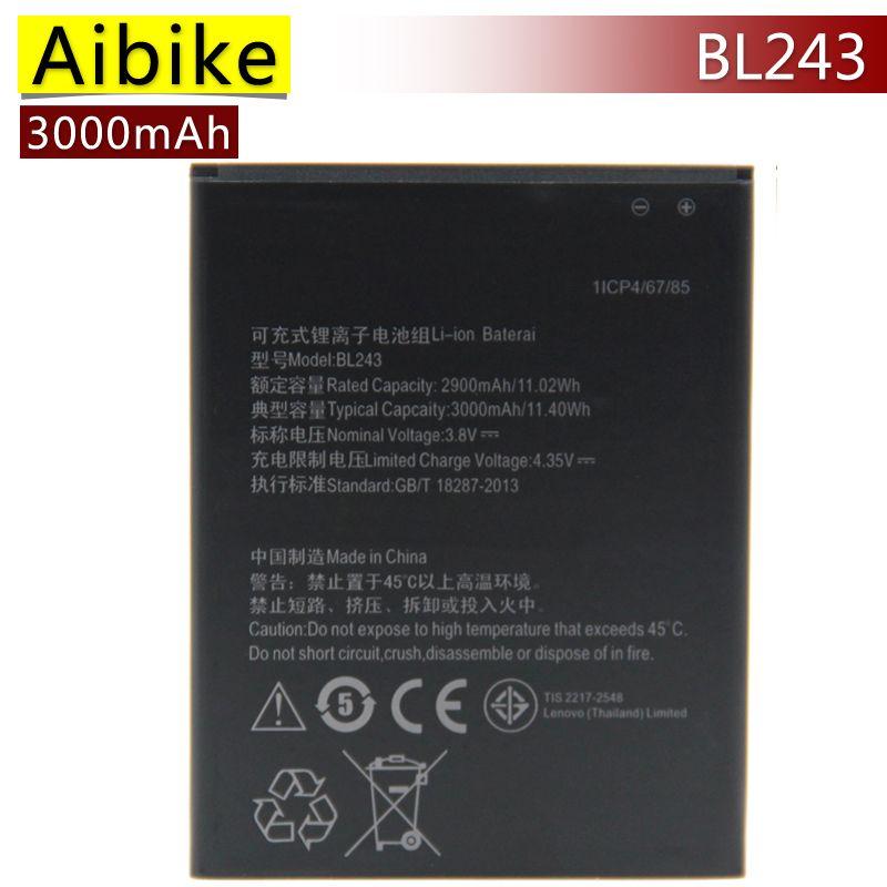 BL243 Aibike Nueva batería original del teléfono móvil Para Lenovo K3 Nota K50-T5 A7000 A5500 A5600 Batería 3000 mAh Reemplazo Real