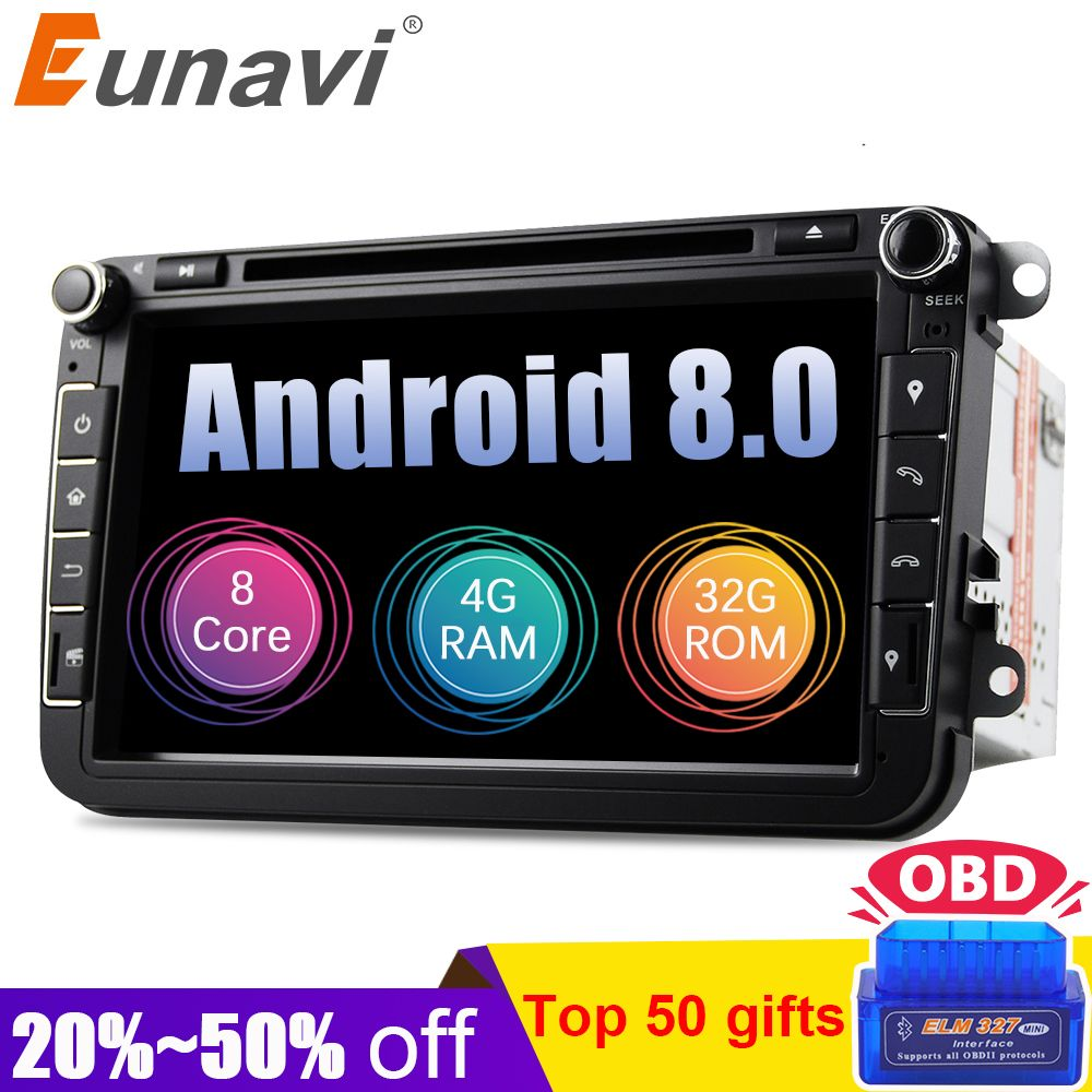 Eunavi Android 8.0 Octa Core 4GB RAM Car DVD for VW Passat CC Polo GOLF 5 6 Touran EOS T5 Sharan Jetta Tiguan GPS Radio Seat A