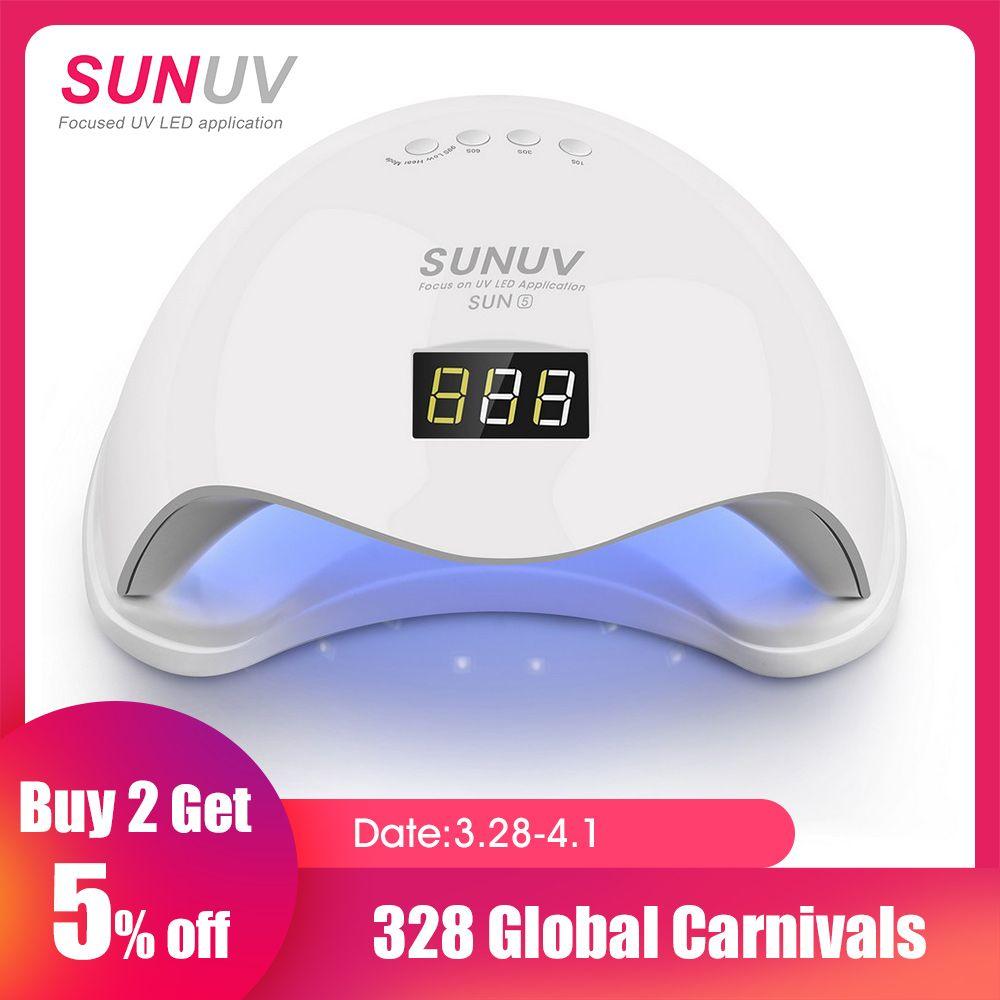 SUNUV SUN5 48 W Double lampe à uv led séchoir d'ongles vernis gel de durcissement Lumière avec Fond 30 s/60 s Minuterie écran lcd