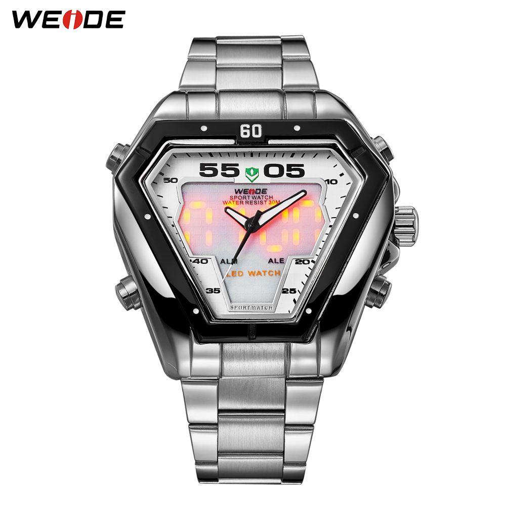 WEIDE hommes mode luxe Quartz acier inoxydable bracelet analogique numérique Date calendrier étanche militaire montre Relogios Masculino