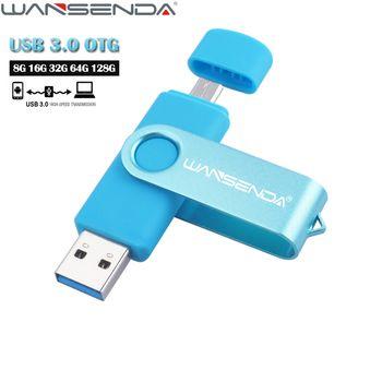 WANSENDA USB 3.0 OTG Pen Drive Rotatable USB Flash Drive 8gb 16gb 32gb 64gb Flash Drive for Android Mobile Pendrive 128GB