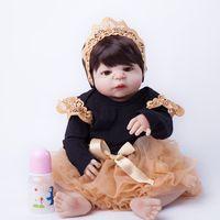 55 cm de cuerpo completo de silicona muñecas del bebé juguetes de la muñeca del bebé-Muñeca princesa muñeca Niño, regalo de Navidad de cumpleaños de chicas brinquedos