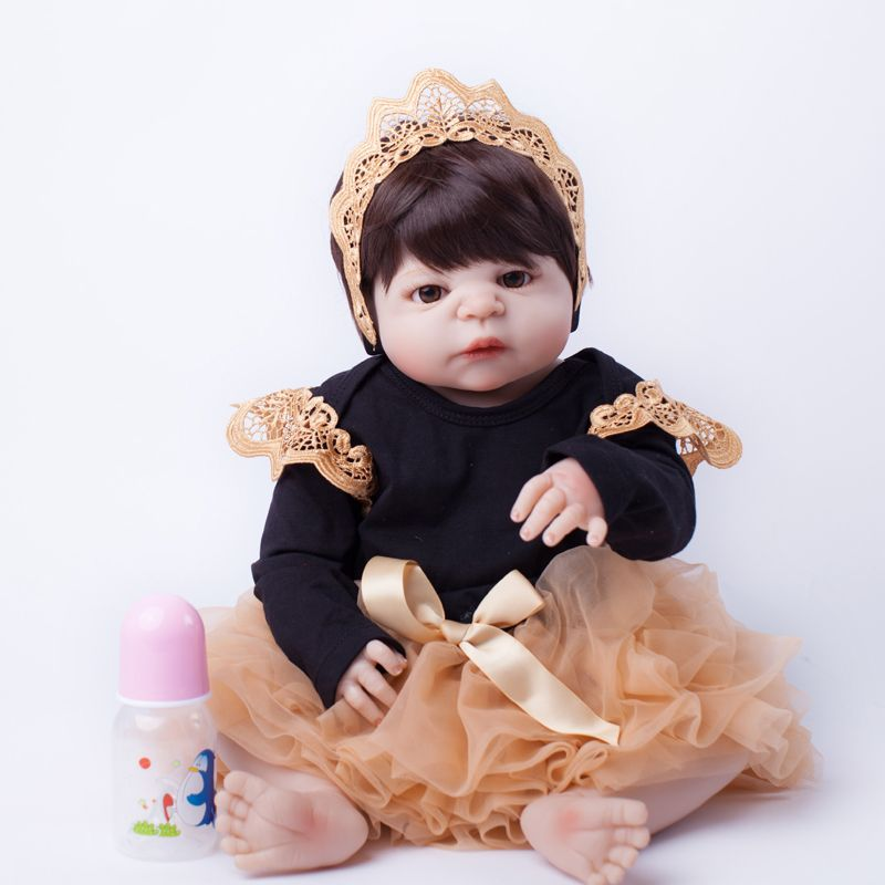 55cm Full Body Silicone Reborn Baby Doll Toys Lifelike Baby-Reborn Princess Doll Child Birthday Christmas Gift Girls Brinquedos