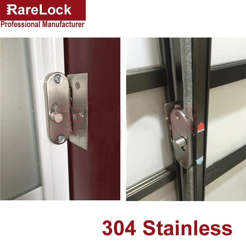 Rarelock MS447 Stainless Latch Sliding Door Lock Dead Bolt for Women Dress Fitting Room Bedroom Bathroom Accessories Barn DIY a