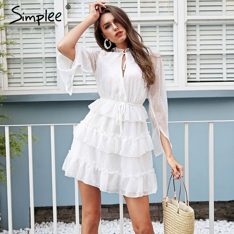 Simplee Sexy v neck ruffle white dress women High waist lace up short dress summer 2018 Elegant chiffon casual dress vestidos