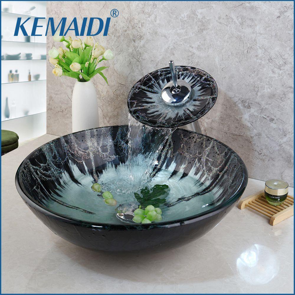 KEMAIDI verre trempé peinture à la main évier lavabo cascade salle de bain lavabo Combine laiton Set robinet, mélangeurs & robinets salle de bain navire