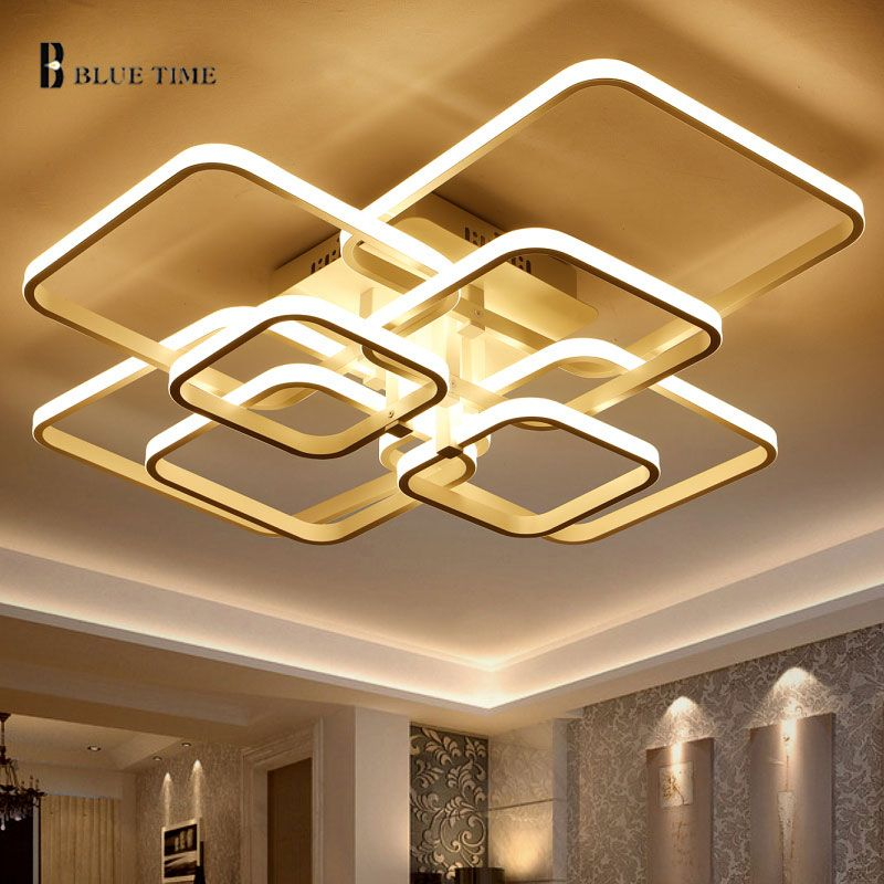 BLUE TIME Large Led Chandelier Modern For Living Room Bedroom LED Lustre Square Rings Led Ceiling Chandelier Lighting Fixtures