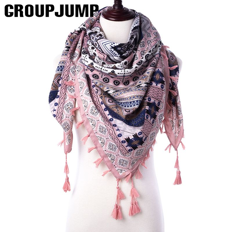 Fashion Women Scarf For Women Ethnic Scarves Female Geometric Tassel Scarf Women Printed Wraps Winter Shawls 110*110 CM Scarf