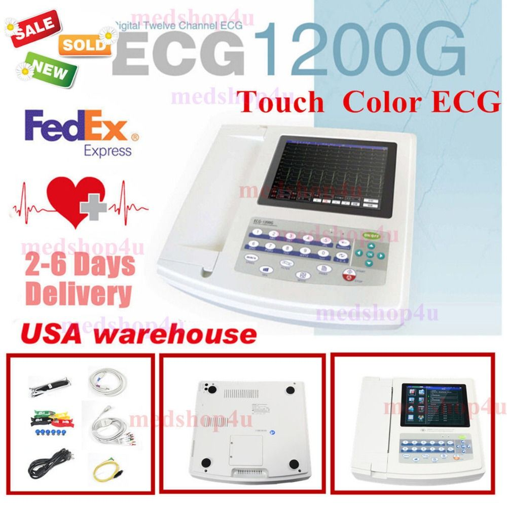 Contec 12-Channel 12 Lead ECG/EKG Electrocardiograph,Realtime Analysis NEW