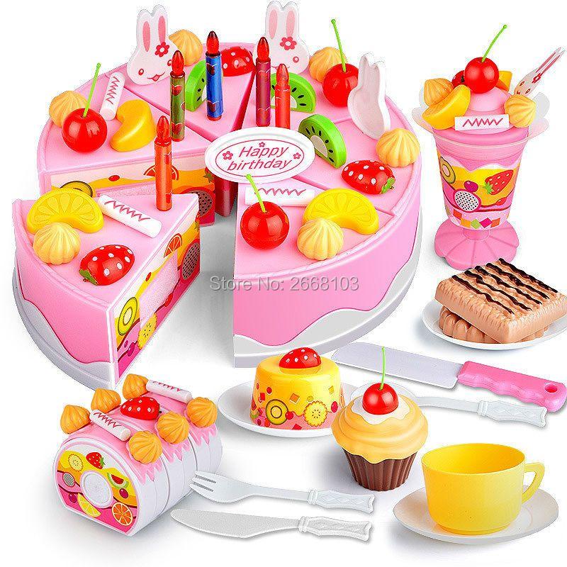 75 PCS Cut Gâteau D'anniversaire Jouets Ensemble Cuisine Fruits à Faire Semblant jouer les Aliments Tôt Éducatifs Classique Jouet Cadeaux Pour Enfant Modèle jeu