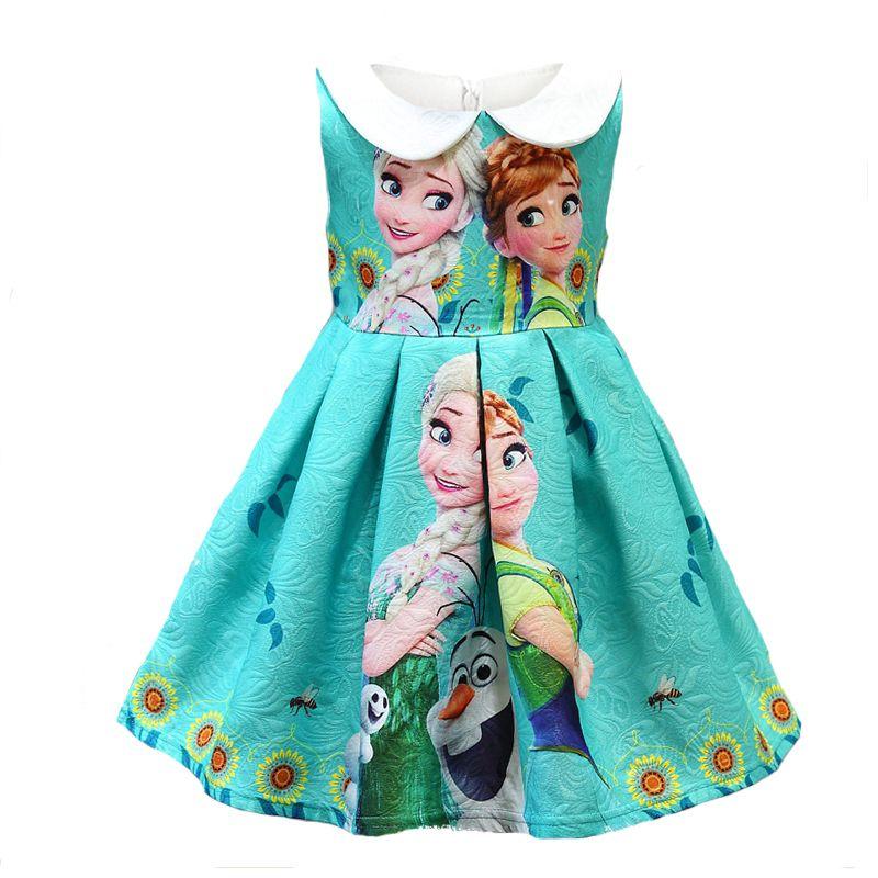 Filles D'été Robe Anna Elsa Bande Dessinée Impression Enfants Cosplay Parti Vêtements De Mariage Fantaisie Princesse Filles Vêtements Bébé Enfants Robes