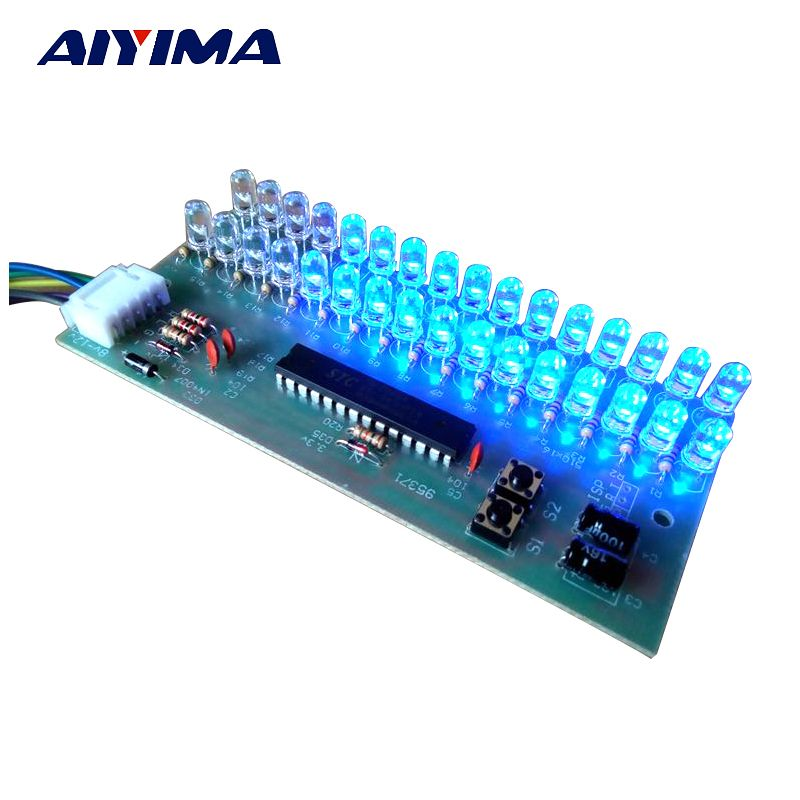 Aiyima VU Meter Level Indicator Amplifier Board Dual Channel 16 LED MCU Adjustable Display Pattern LED Blue Color